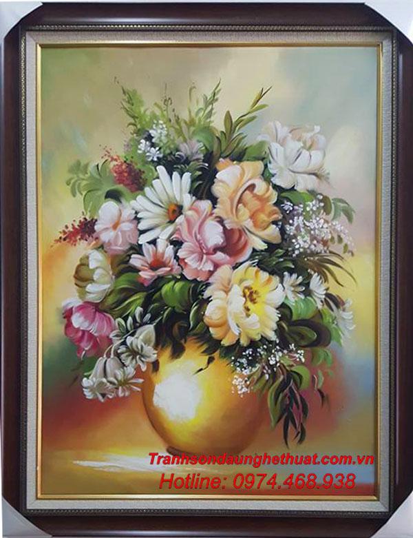 tranh sơn tranh sơn dầu hoa đẹp mẫu 35