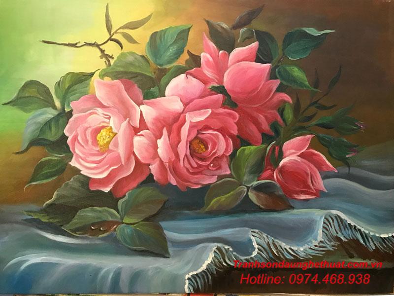 tranh sơn tranh sơn dầu hoa đẹp mẫu 40