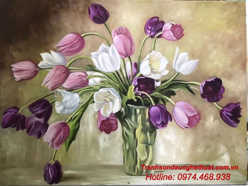 tranh sơn tranh sơn dầu hoa đẹp mẫu 43