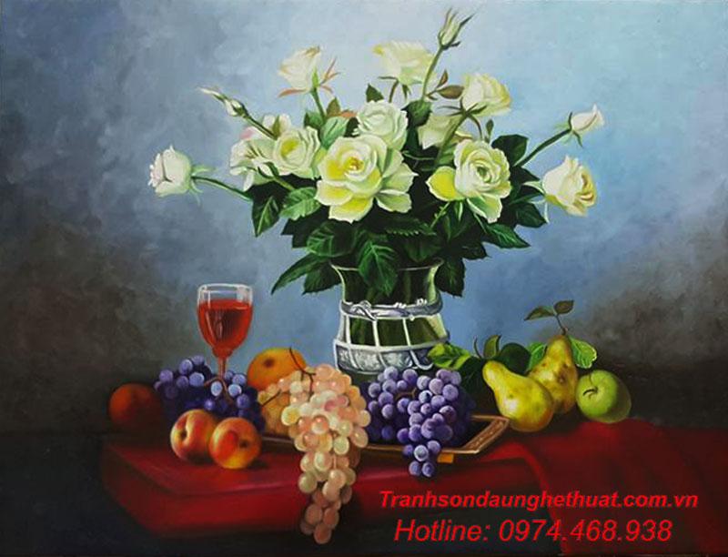 tranh sơn tranh sơn dầu hoa đẹp mẫu 33