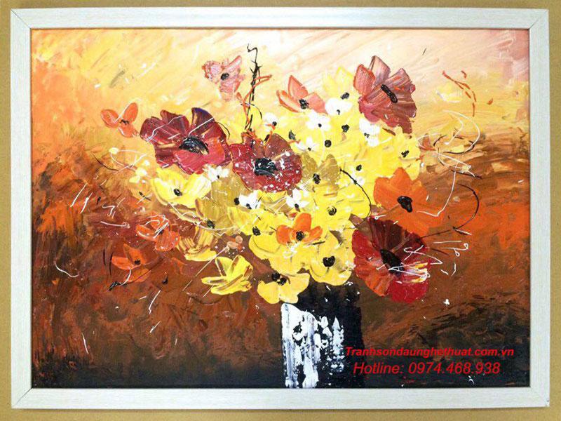 tranh sơn tranh sơn dầu hoa đẹp mẫu 34