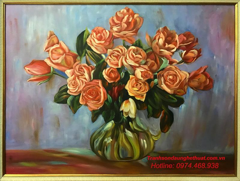 Tranh sơn dầu hoa đẹp