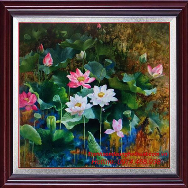 Tranh son dau hoa sen dep nhat