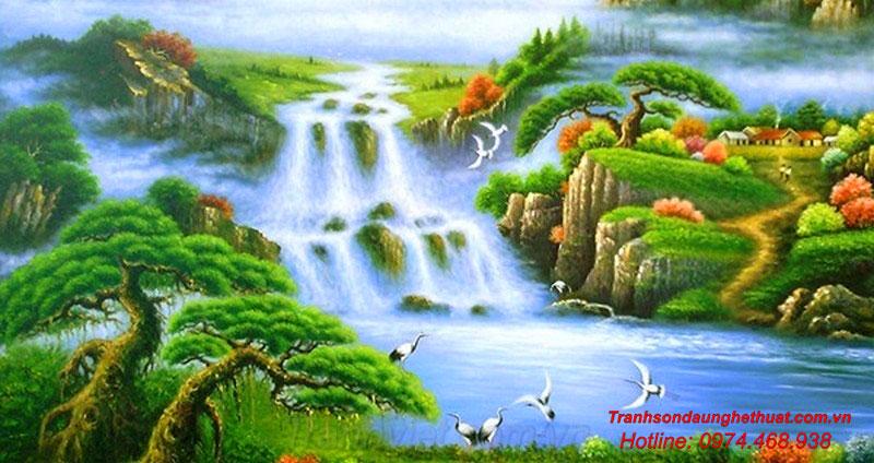 Tranh thác nước trong phong thủy