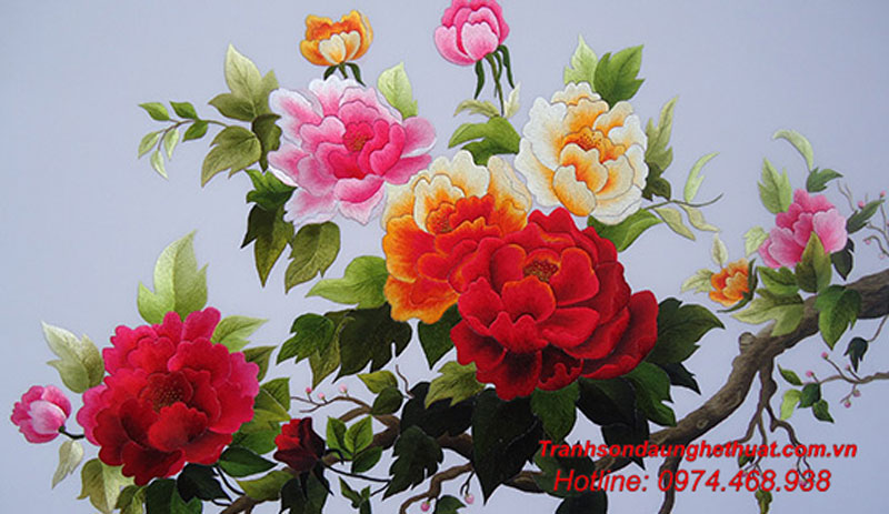 Tranh hoa mẫu đơn 9 bông