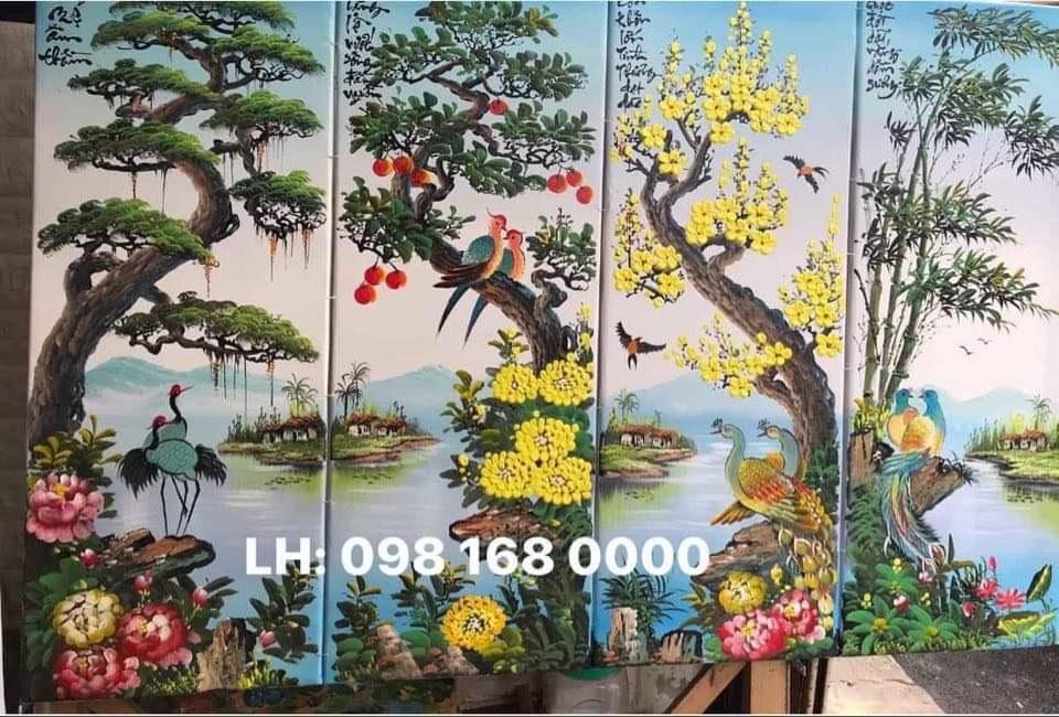 Tranh Sơn Dầu Bộ Tứ Quý (Mẫu 04)