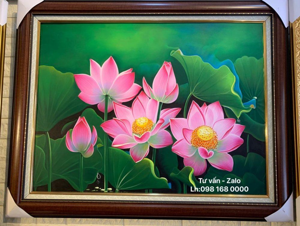 Tranh Sơn Dầu Hoa Sen (Mẫu 30)